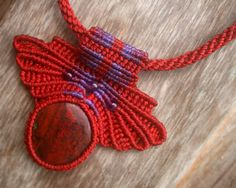 Queen of Hearts Red Cuprite Macrame Necklace via Etsy