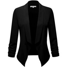 FPT Womens Lightweight Cinched 3/4 Sleeve Open Blazer (S-3XL) ($13) ❤ liked on Polyvore featuring outerwear, jackets, blazers, lightweight jackets, light weight blazer, three quarter sleeve blazer, 3/4 sleeve blazer and 3/4 sleeve jacket