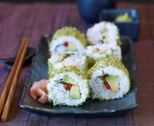 California rolls with a twist! This recipe uses soy wrappers with sesame seeds instead of seaweed. Theyre spicy with a crunch covered in wasabi flavored panko breadcrumbs and chile strips. Yum!  www.avocadocentra...