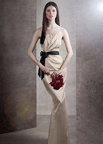 Love the colors, not a fan of shiny satin.  Bridal - Draped Satin Dress w/ Grosgrain Sash Style VW360059 White by Vera Wang $168