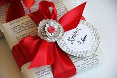 Book pages... endless way to get creative with your wrapping.  Especially books with pictures in them.