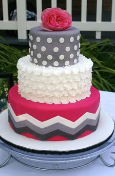 Pink and grey chevron cake. #bridalmentor #wedding Find out how to plan your unique and not cookie cutter wedding with Pinterest: http://bridalmentor.com/pinterest/