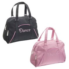 Bowling-style dance bag with 'dance' embroidery and piping trim.  Fabric : Polyester 100% Polyester  Size : 35 x 25 x 15 cm  Colours : Black, Pink  www.dancinginthestreet.com Dance Bags, Dance Accessories, Dance Tights, Wrist Warmers, Inspirational Gifts, Bowling, Dance Wear, Dancers, Gym Bag