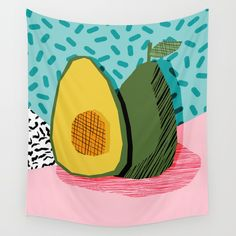 Choice - wacka memphis throwback retro neon fruit avocado vegetable vegan vegetarian art decor Wall Tapestry. #abstract #illustration #food #pattern