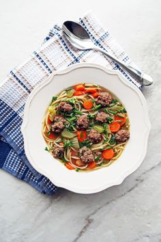 Dutch Vegetable Soup with Meatballs or groentesoep met balletjes is a  healthy, simple soup with vegetables, vermicelli pasta, small beef  meatballs, and fresh herbs. One-pot and ready in 30 minutes!