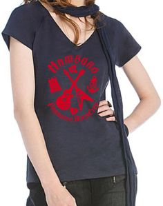 HAMBURG PARADISE ROCKCITY VINTAGE V-NECK T-SHIRT USED LOOK FÜR SEXY ELB-LADIES!