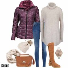 obojstranna fialova bunda dlhy kremovy rolak cizmy bata