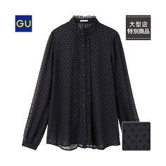 (GU)ドットスタンドカラーシャツ(長袖)+-+GU+ジーユー
