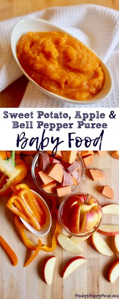 This Sweet Potato, Apple & Bell Pepper Puree combines the comfort of sweet potatoes with the sweetness of apples while introducing bell peppers or capsicums!