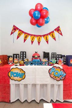 Awesome Minions superhero birthday party! See more party planning ideas at CatchMyParty.com!
