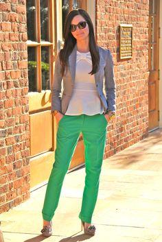 Pants: Asos   Blazer: H & M   Top: Asos   Cuff: Tory Burch   Watch: Michael Kors   Earrings: Nadri   Bracelet: J. Crew   Sunnies: Ray Ban   Shoes: Badgley Mischka   Handbag: Kate Spade