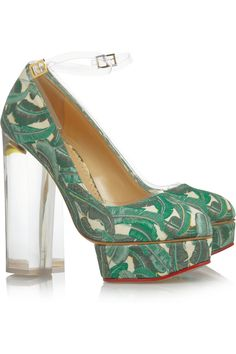 50's-Miami-inspired emerald green print + a plexiglass heel = a Charlotte Olympia look we'd wear anyday. #coloroftheyear