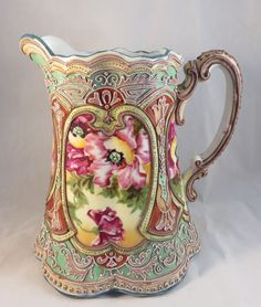 Gorgeous Antique Nippon Moriage Pitcher w/Pink Flowers & 100+ Moriage Bead #Circa1891