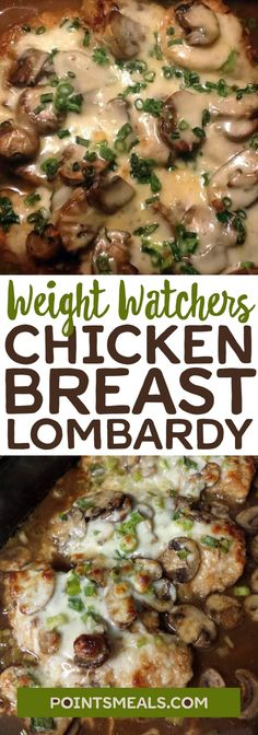 A lightened up version of the yummy Chicken Lombardy. INGREDIENTS 2 teaspoon LouAnn's Coconut Oil, divided 1 C sliced mushrooms 1 6 oz. Chicken Breast, sliced in half horizontally C water teaspoon Old Ww Recipes, Skinny Recipes, Chicken Recipes, Cooking Recipes, Healthy Recipes, Recipies, Slimming Recipes, Chicken Meals, Healthy Dishes
