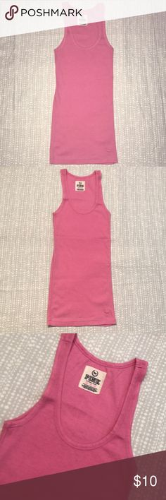 VS PINK Tank Top Pink  Ribbed  Logo of dog on bottom right of tank  Long tank  58% Cotton  39% Polyester  3% Spandex  Only worn once  In great condition PINK Victoria's Secret Tops Tank Tops