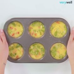 Make ahead mini omelettes with spinach, pepper, and cheese.