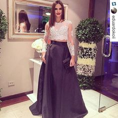 2015 Two Piece Classy Arabic Evening Dresses Black And White Lace Long Sleeves Crop Top Long Satin Prom Gown Personalized Plus Size Vestidos Online with $107.81/Piece on Sarahbridal's Store | DHgate.com