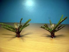 Making young palm trees - dioramas