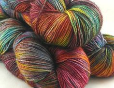Hand Dyed 80/20 SW BFL Nylon Sock Yarn 4 oz  405 yds: Hobbiton Multicolour Rainbow Verdant Unique Brown Blue Rust Green Sunset