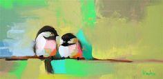 Two Chickadees no. 21 Original Abstract Bird Painting - Original Fine Art for Sale - © Angela Moulton