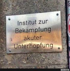 Institut zur Bekämpfung akuter Unterhopfung.. | Lustige Bilder, Sprüche, Witze, echt lustig