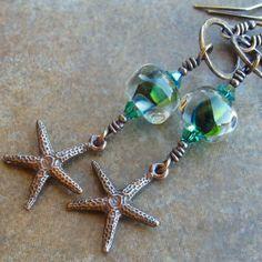 Copper Earrings Blue Green Lampwork Beads Swarovski by Ctbydonna