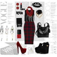 Created in the Polyvore iPad app. http://www.polyvore.com/iPad  #tartan #blackandred #vogue