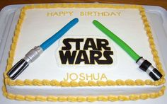 Light Sabers Star Wars cake for a friend's little boy. The light sabers are all MMF and the Star Wars logo is FBCT.