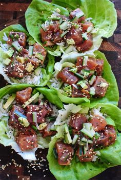 Spicy Tuna Poke Lettuce Wraps / Bev Cooks by esmeralda Seafood Dishes, Seafood Recipes, Cooking Recipes, Pastry Recipes, Salat Wraps, Asian Recipes, Healthy Recipes, Raw Fish Recipes, Sushi Roll Recipes
