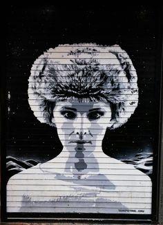 Street Art Manchester. Vivid shutter portrait by TankPetrol. Stevenson Square, Manchester. Taken February 2015.