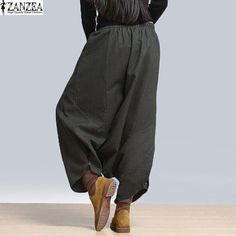 S-5XL ZANZEA Женщины Высокой Талии Свободные Случайные Шаровары Hip Hop Длинные Брюки Широкую Ногу Плюс Размер Негабаритных брюки спортивные штаны женские штаны Брюки брюки женские летние женские брюки