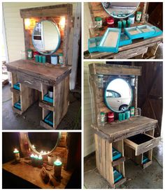 A makeup vanity I made for my girlfriends birthday out of old pallets and other saved wood. Took me a couple days after work. Got the mirror from Burlingto