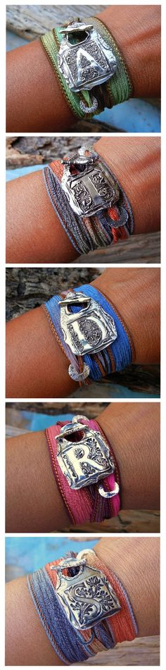 Monogram Jewelry Silk Wrap Bracelets by HappyGoLicky Jewelry, Click NOW & use 10% off coupon code PIN10