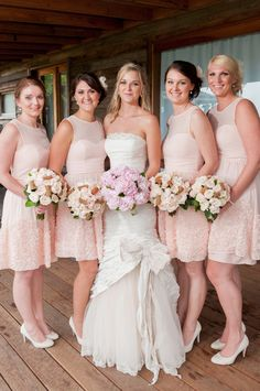 Gorgeous blush cocktail dresses for bridesmaids- I like how the brides dress fits theirs, in how the skirt flows out where theirs ends