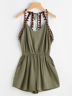 Shop Embroidered Taped Pompom Trim Open Back Romper online. SheIn offers Embroidered Taped Pompom Trim Open Back Romper & more to fit your fashionable needs.