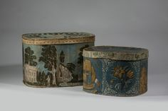 American wallpaper bandboxes, circa 1850