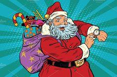 Santa Claus shows on the clock Graphics Santa Claus shows on the clock, New year and Christmas, pop art retro vector illustration by studiostoks Retro Vector, Vector Art, Cartoon Grandma, Merry Christmas Vector, Christmas Mood, Christmas Countdown, Desenho Pop Art, Paint And Sip, Retro Pop