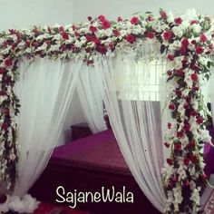 Book your day with For more details please contact Whatsapp : 03313940929 . Bridal Room Decor, Wedding Night Room Decorations, Romantic Room Decoration, Romantic Bedroom Design, Desi Wedding Decor, Backyard Wedding Decorations, Flowers Decoration, Brides Room, Wedding Bedroom