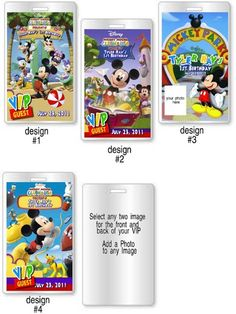 Mickey Mouse Club House VIP Pass Invitations And Favors