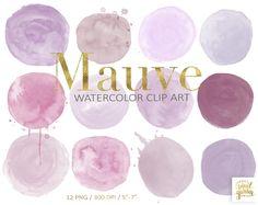 Purple Watercolor Circles Clip Art. Lavender Mauve Pink Hand | Etsy