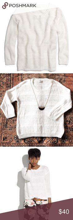 Listing! Madewell white stitch-mix sweater PRODUCT DETAILS We're over the rainbow about this colorful textured stripe sweater; it adds the perfect offbeat touch to every outfit. Sold out online.  * Fits a S-M. Bust 19 inches. Length 20 inches.  * Cotton. * Perfect spring transition piece!  * Like new condition! Madewell Sweaters