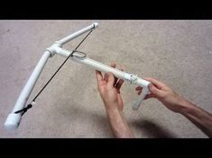 How to make a Crossbow - PVC Crossbow It is easy to make with common tools and a little time. You do not need any heat or reshaping of the PVC to make this. It is powerful enough to put a hole in a wall from across the room, so do not play with this inside your house. Do not point his crossbow at anyone or any living creatures because it can hurt them badly. homemade diy toys www.specificlove.com
