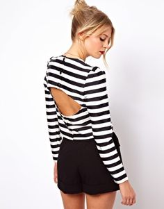 Image 1 of ASOS Top with Open Back in Stripe Print