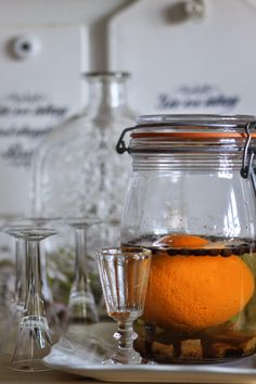 The Orange Christmas SCHNAPPS recipe --  What you need: - 1 organic orange   (Squeeze the orange & make it soft & poke 40 holes with a knitting needle)   - 1 vanilla bean  (Scrape out the vanilla, cut the rod & put all in the glass jar)   - 40 coffee beans   - 12 brown sugar cubes   - 1/2 bottle of good neutral Schnapps or Vodka   Let stand for 40 days, before this strained the coffee filter and poured the bottle (Inverting occasionally)