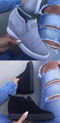 san francisco 2ba68 79c6b 42.99 USD Fashion Letter Slip On Wedge Sneakers Faux Suede Wedge Heel  Casual Sneakers Merkliste,