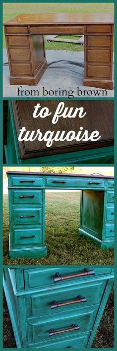 Turquoise Desk Makeover- #diyproject #paintedfurniture