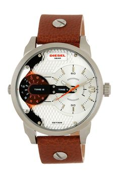 Men's Mini Daddy Chronograph Leather Strap Watch by Diesel on @HauteLook