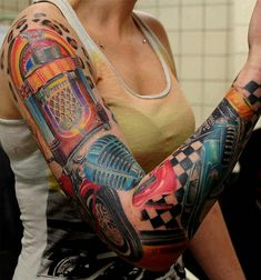 Super Cool Rockabilly Tattoos For Your Swag Style Car Tattoos, Pin Up Tattoos, Badass Tattoos, Music Tattoos, Trendy Tattoos, Sexy Tattoos, Body Art Tattoos, Tatoos, Retro Tattoos