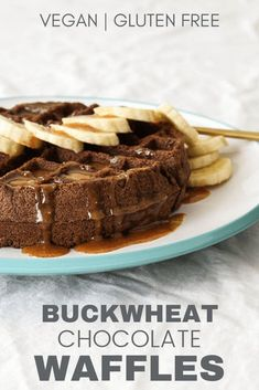 This healthy, vegan chocolate buckwheat waffles recipe is gluten free, dairy free and eggless! Pair with banana slices and homemade maple nut butter syrup. Buckwheat Gluten Free, Buckwheat Waffles, Buckwheat Recipes, Cooking Buckwheat, Buckwheat Cake, Healthy Waffles, Gluten Free Waffles, Eggless Waffles, Pancakes