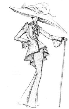 Bob Mackie Fashion Illustration - Fashion Show Fashion Illustration Sketches, Illustration Mode, Fashion Sketchbook, Drawing Sketches, Sketch Fashion, Vintage Fashion Sketches, Dress Sketches, Design Illustrations, Drawing Faces